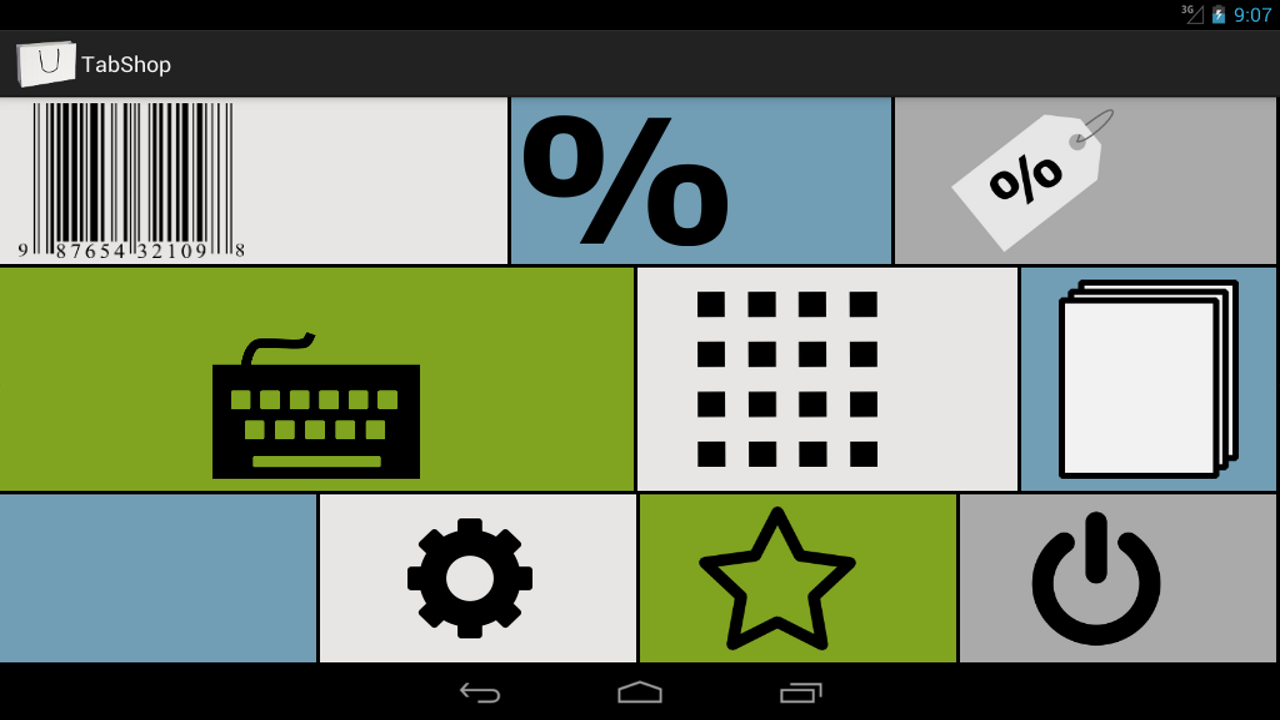TabShop free Android Point of Sale App Start Screen
