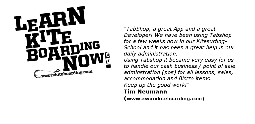TabShop Point of Sale App used at xworkxkiteboarding Surf Shop