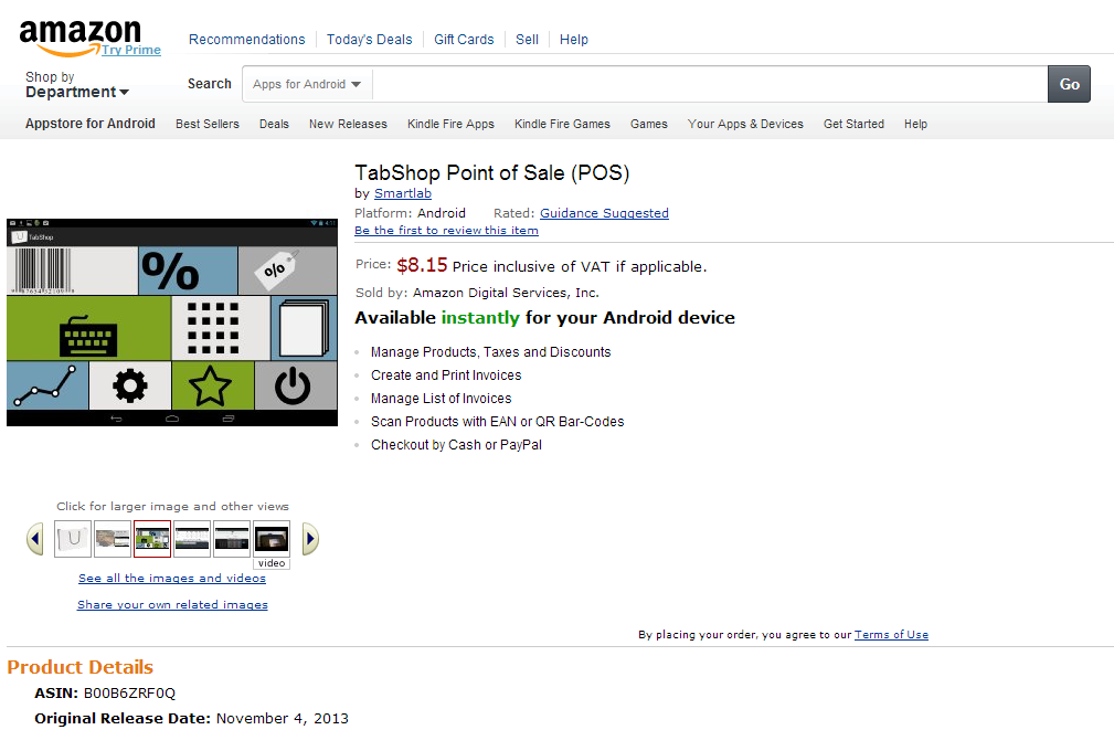 TabShop Android Point of Sale on Amazon App market