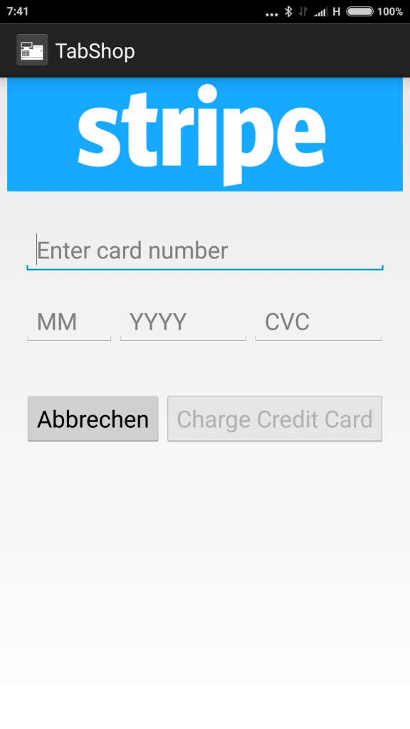 TabShop using the Stripe Credit card processing integration